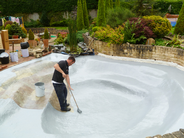 Fibreglass fishpond in Cheltenham, Gloucestershire